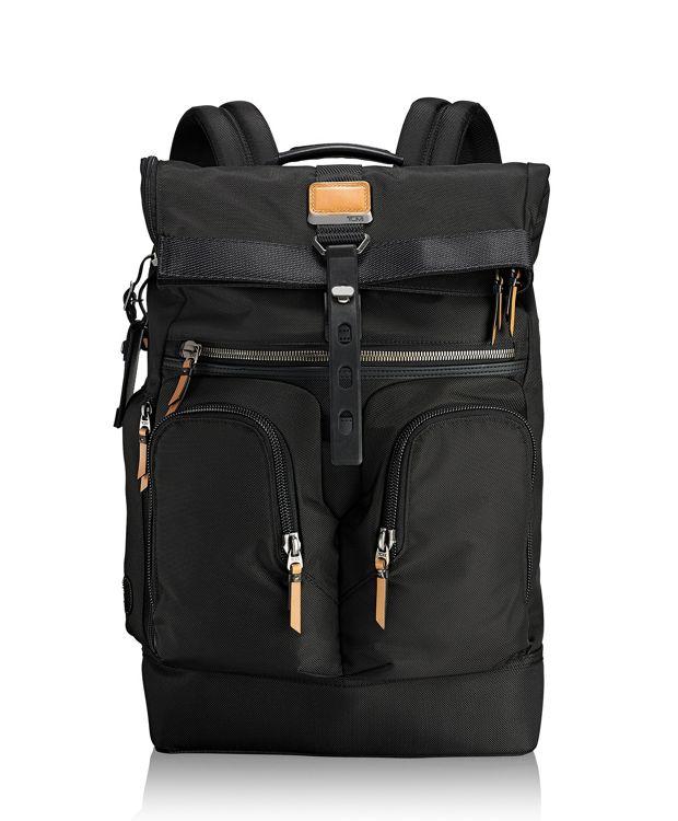 London Roll Top Backpack in Black