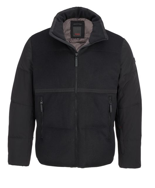 Men's Wool Blocked Puffer in Black