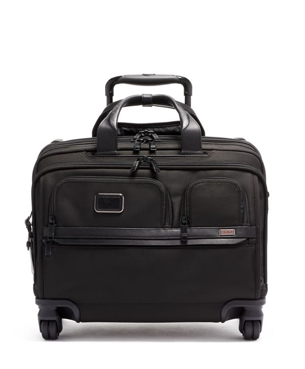 Deluxe 4 Wheeled Laptop Case Brief in Black