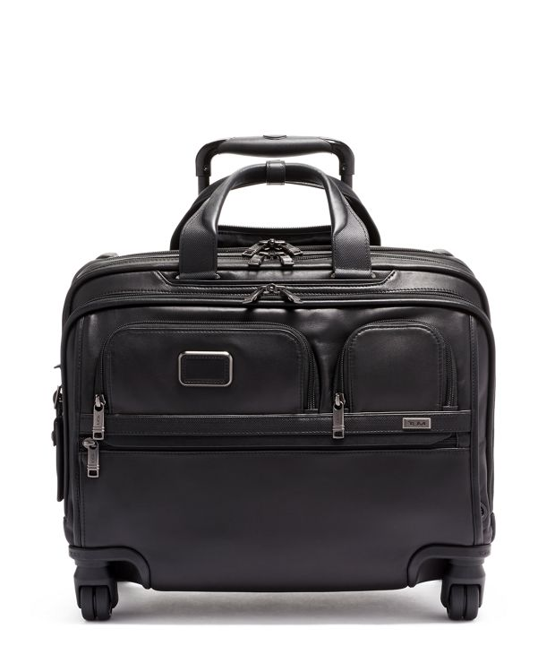 Deluxe 4 Wheeled Laptop Case Brief Leather in Black Leather