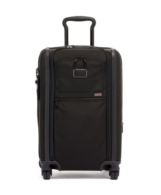 黑國際雙拉鍊四輪手提行李箱