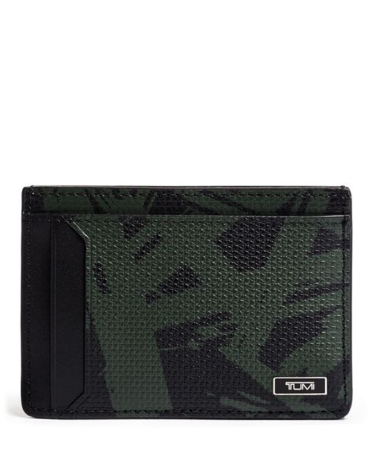 Money Clip Card Case in Green Palm Print