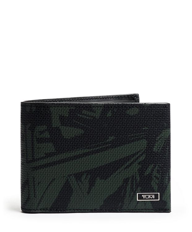 Double Billfold in Green Palm Print