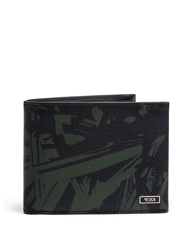 Global Double Billfold in Green Palm Print