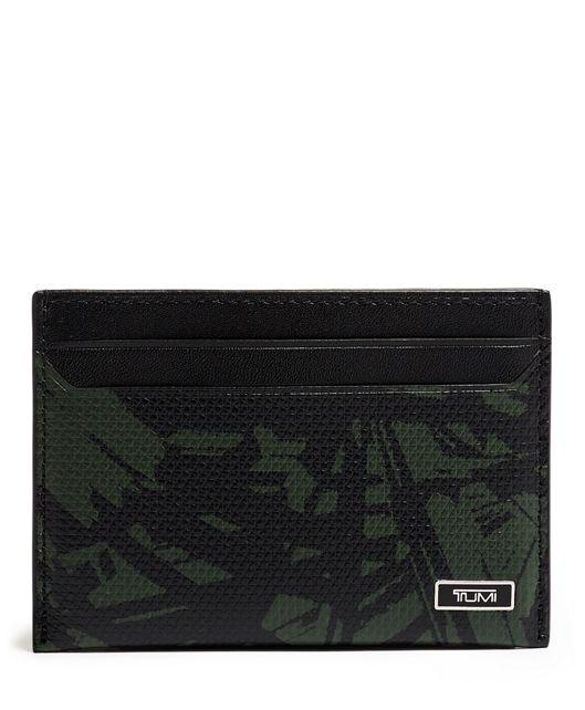 Slim Card Case in Green Palm Print