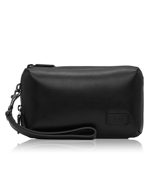 Triple Zip Clutch in Black