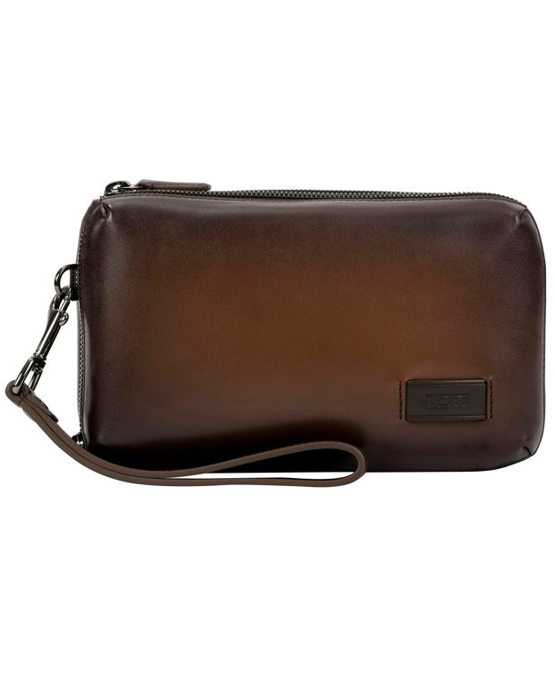 Triple Zip Clutch in Whiskey Burnished
