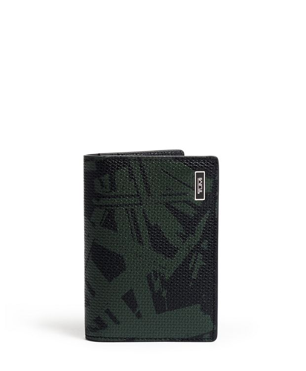 Folding Card Case in Green Palm Print