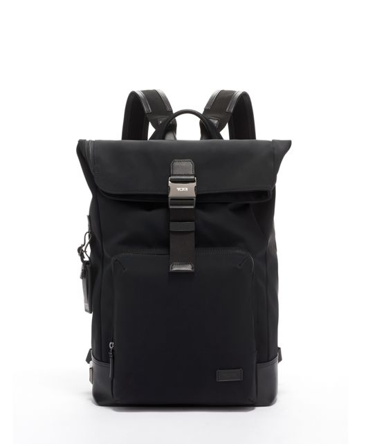 Oak Roll Top Backpack in Black