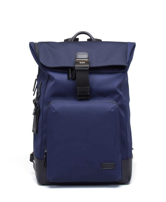 Oak Roll Top Backpack in Navy Mesh