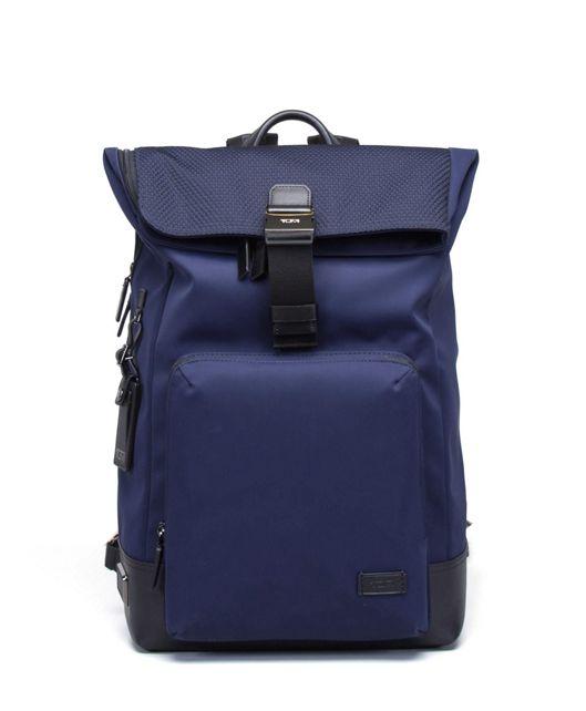 Oak Roll Top Backpack in Navy Mesh