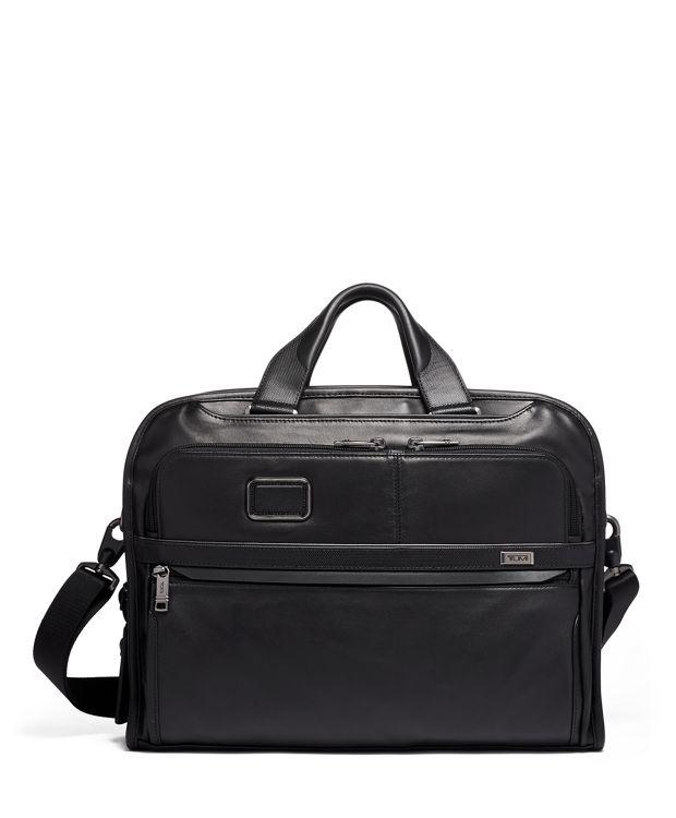 Organizer Portfolio Brief Leather in Black  Leather