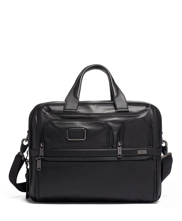 Expandable Organizer Laptop Brief Leather in Black Leather
