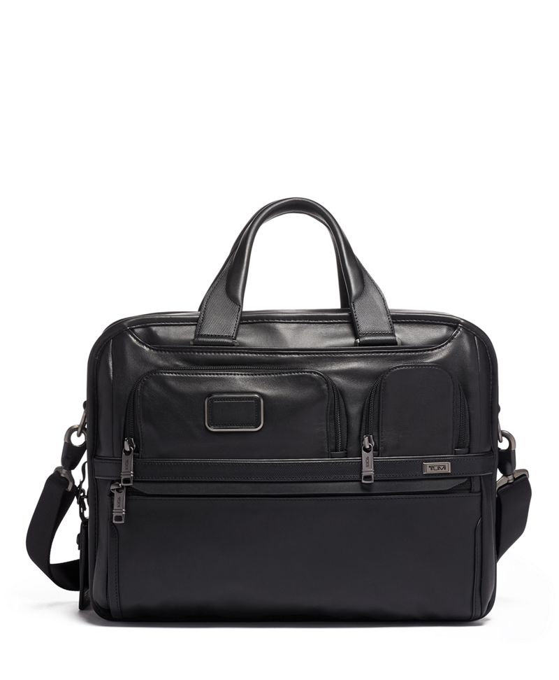 Expandable Organizer Laptop Brief Leather