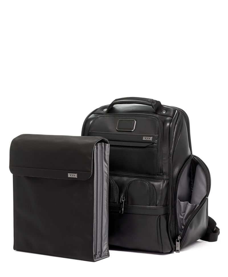 Black  Leather COMPACT LAPTOP BRIEF PACK