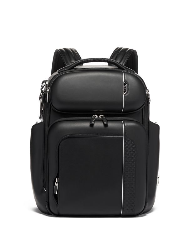Barker Backpack Leather in Black Leather