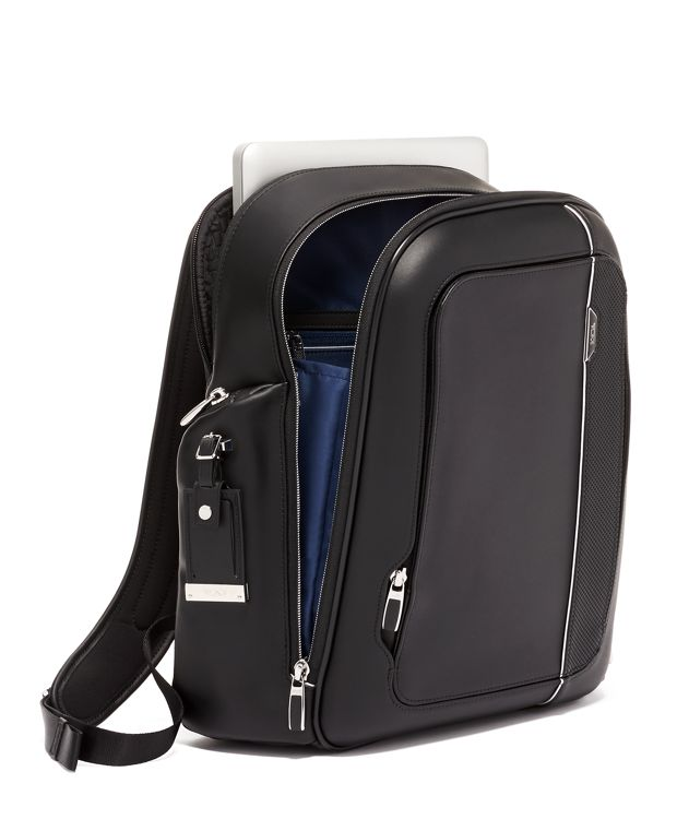 Black  Leather Larson Backpack Leather