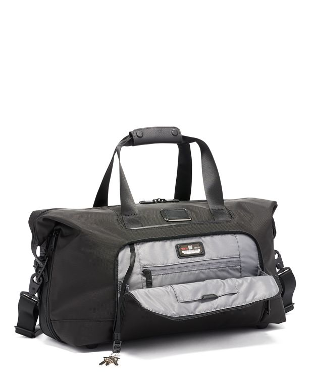 黑雙層可擴充旅行袋