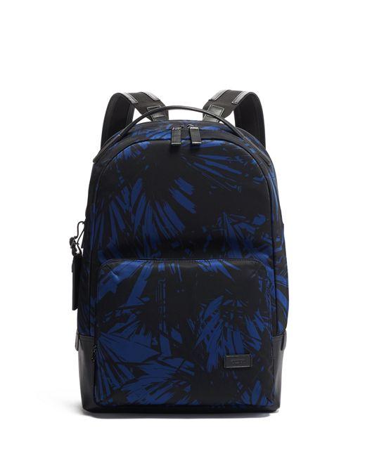 Webster Backpack in Blue Palm Print