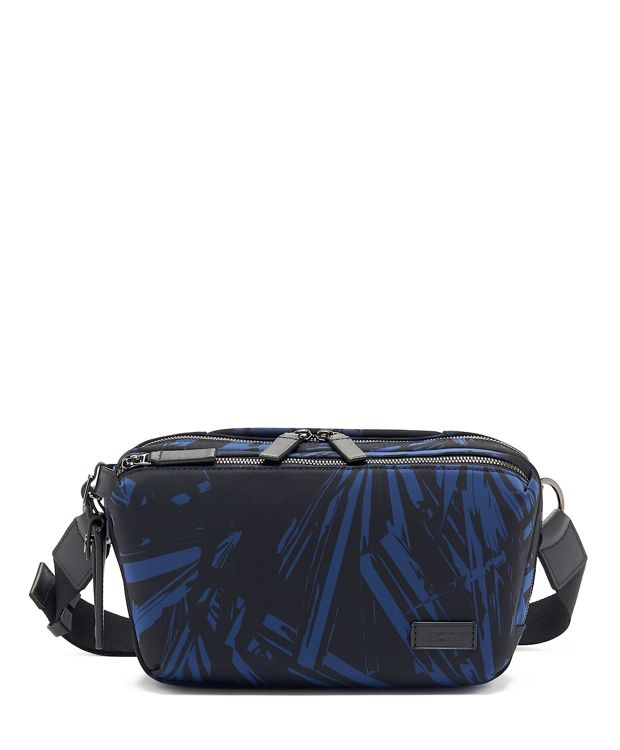 Daniel Utility Pouch in Blue Palm Print
