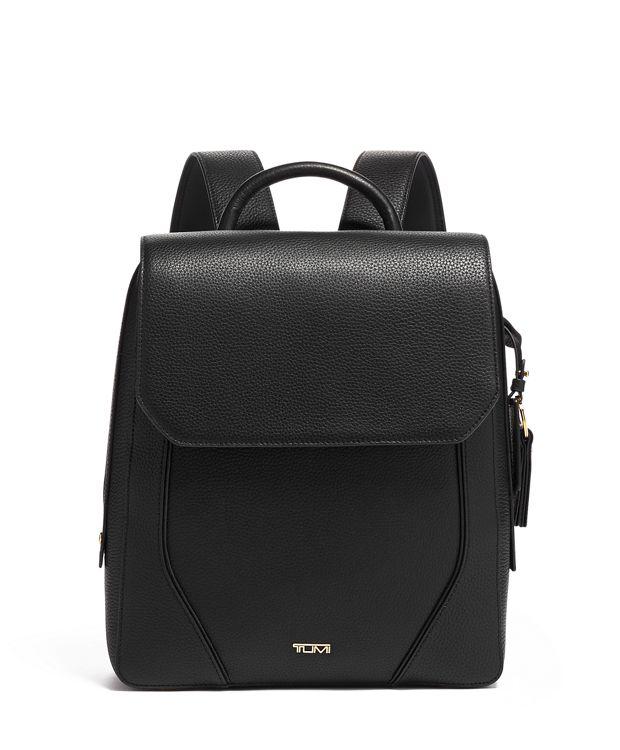Tori Flap Backpack in Black/Gold