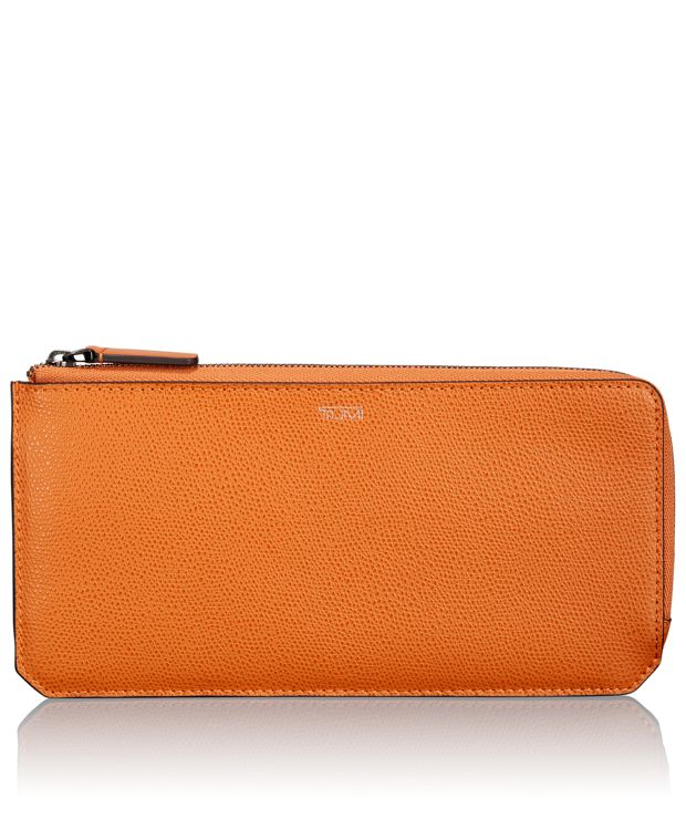 L-Zip Currency Organizer in Burnt Orange