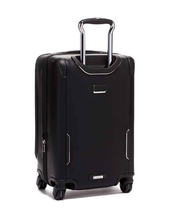 Black  Leather International Dual Access 4 Wheeled Carry-On Leather