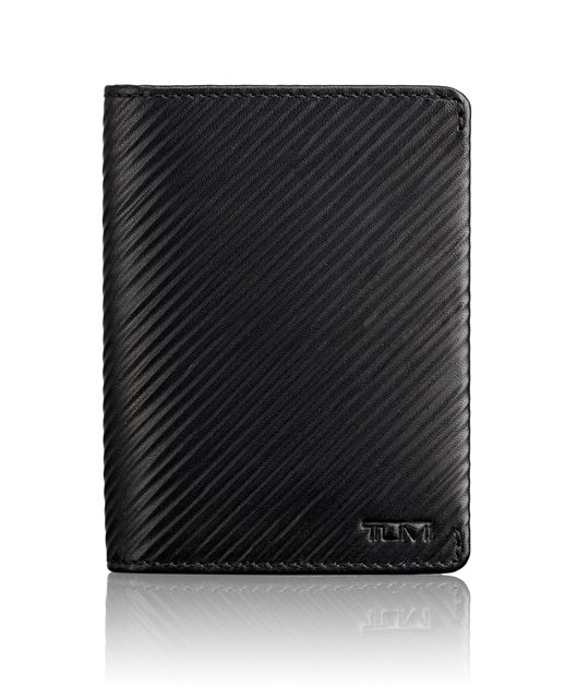 TUMI ID Lock™ Gusseted Card Case in Black Embossed