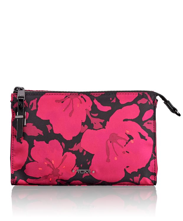 Basel Small Triangle Pouch in Magenta Floral