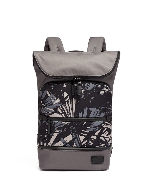 Forest Flap Backpack in Blue  Palm  Print