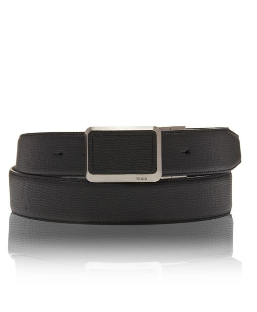 Leather Buckle Inlay Belt OS in Black