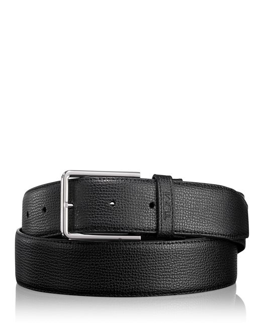 Textured Leather Reversible Belt in Black