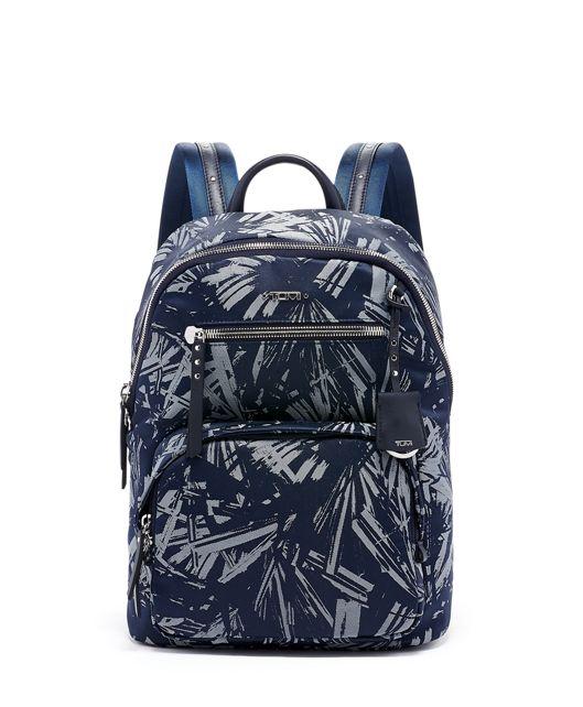 Hagen Backpack in Blue Palm Print