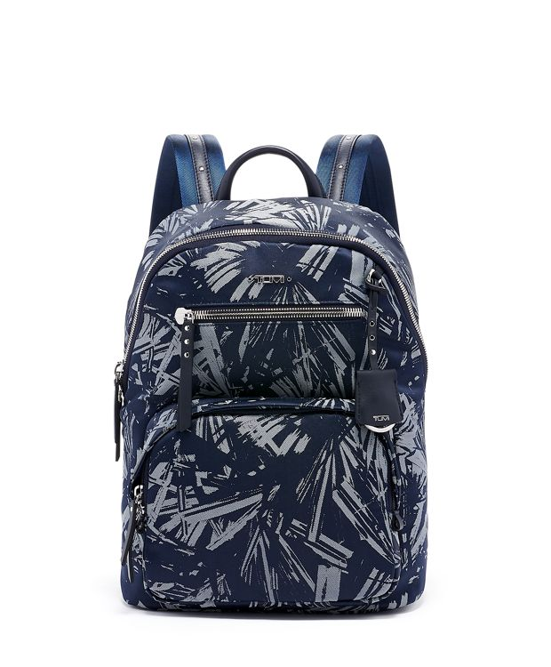 Hagen Backpack in Blue Palm Print