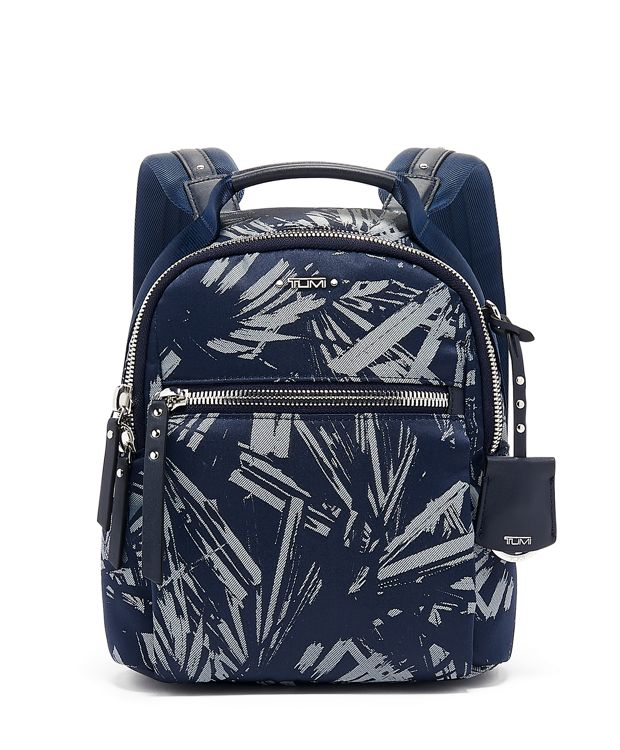 Witney Backpack in Blue  Palm  Print