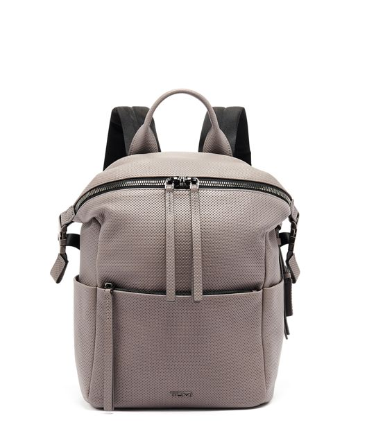 Pat Backpack in Grey  Perforated  Lthr