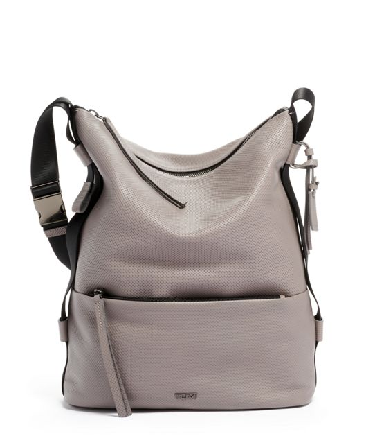 Zenya Hobo in Grey Perforated Lthr