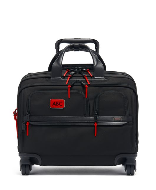 Deluxe 4 Wheeled Laptop Case Brief in Cherry