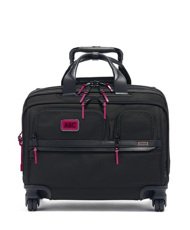 Deluxe 4 Wheeled Laptop Case Brief in Metallic Pink