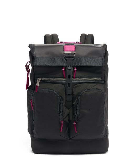 London Roll Top Backpack in Metallic Pink
