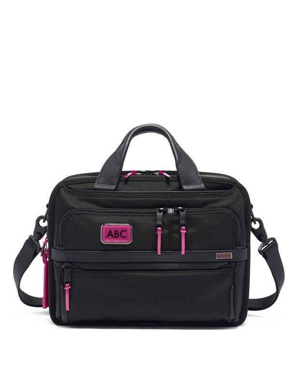 Small Screen Expandable Laptop Brief in Metallic Pink