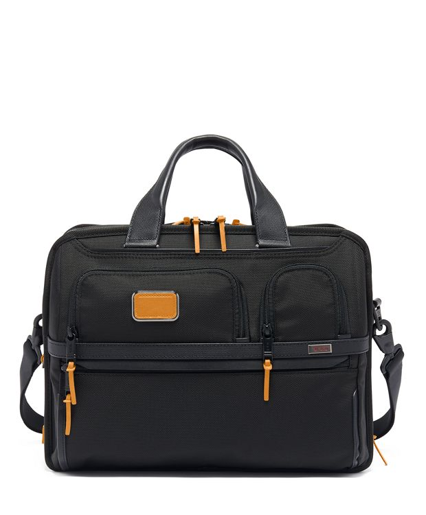 Expandable Organizer Laptop Brief in Tan
