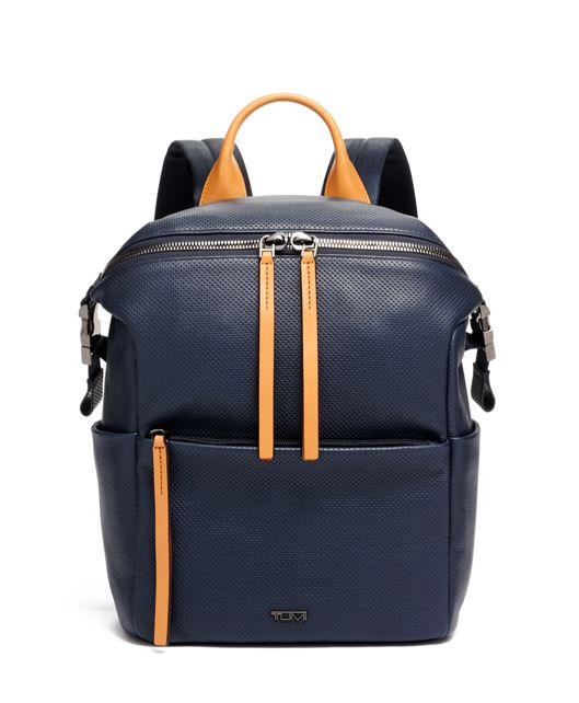 Pat Backpack in Navy Perforated Lthr
