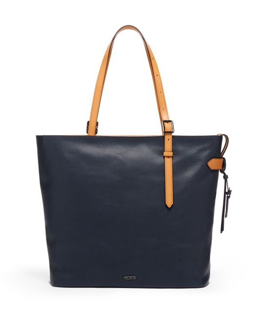 Nora Tote in Navy  Perforated  Lthr