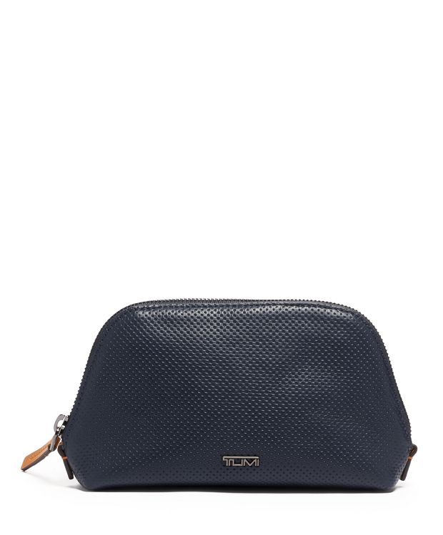 Domed Pouch in Navy Perforated Lthr