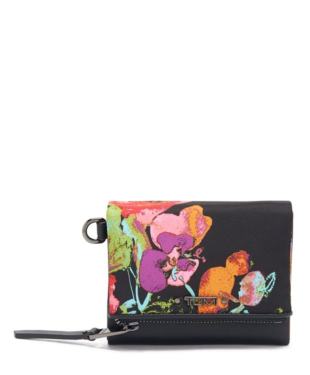 Flap Card Case in Collage Floral