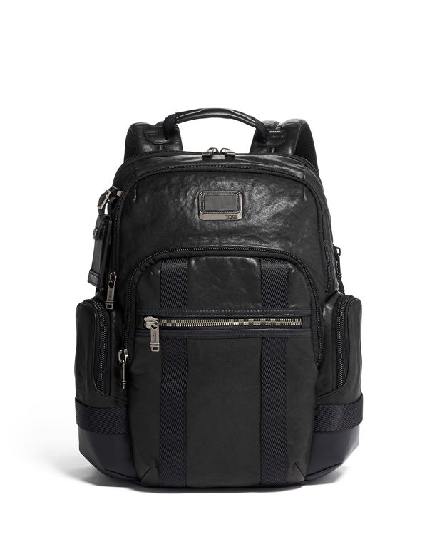 Nathan Expandable Backpack Leather in Black Leather