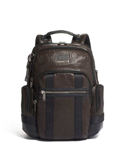 Nathan Expandable Backpack Leather in Dark Brown