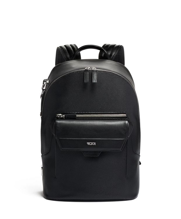Marlow Backpack Leather in Black Perforated