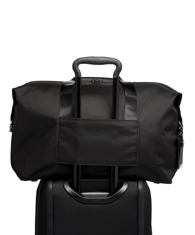 Black  Chrome Double Expansion Travel Satchel